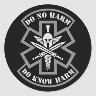 Military Tactical Medic Spartan Style Patch Round Sticker