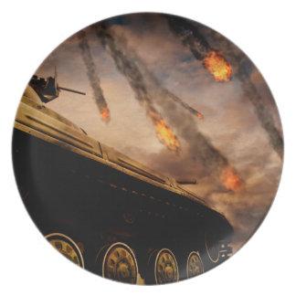 Military Tank on Battlefield Plate