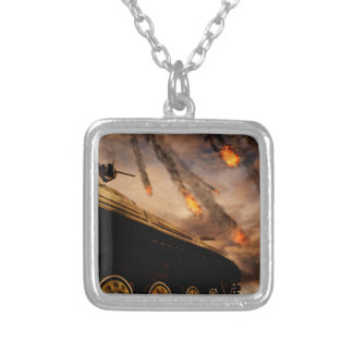 Military Tank on Battlefield Silver Plated Necklace