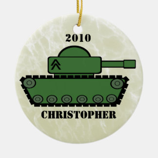 Military Tank Round Ceramic Ornament