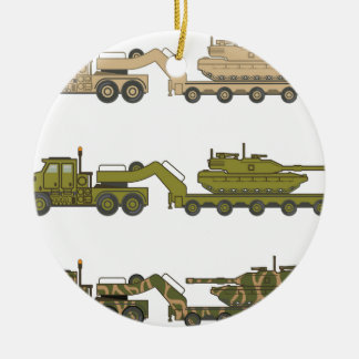 Military Truck pulling tank Ceramic Ornament