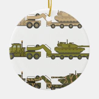 Military Truck pulling tank Round Ceramic Ornament