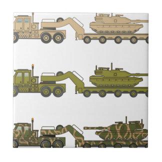 Military Truck pulling tank Tile