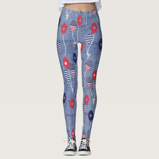 Military USA 4th of July Balloons Legging