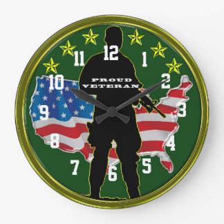 Military Veteran and Proud Large Clock