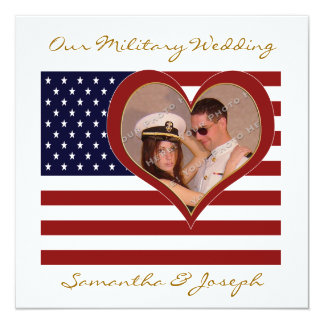 Military Wedding Invitation - Photo Flag Heart