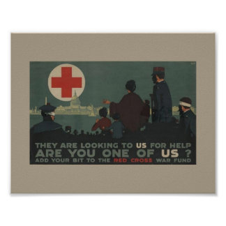 Military Women World War 1 Red Cross War Fund Poster