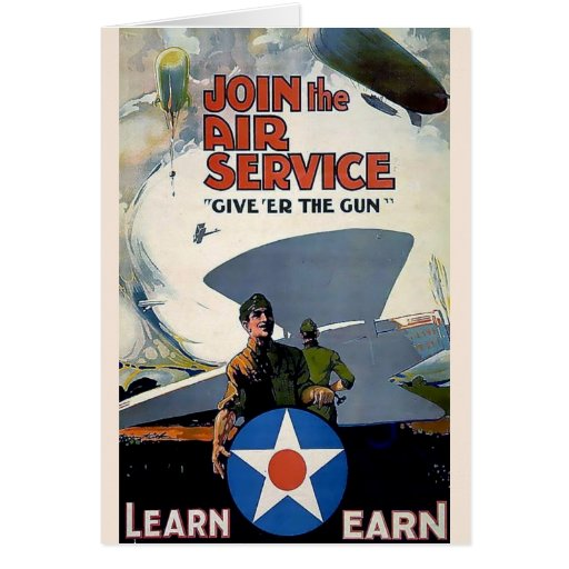 Military WWI poster plane soldier Card