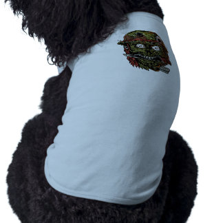 military zombie with knife in mouth dog tee shirt