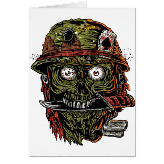 military zombie with knife in mouth greeting card