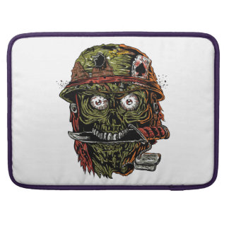 military zombie with knife in mouth MacBook pro sleeve