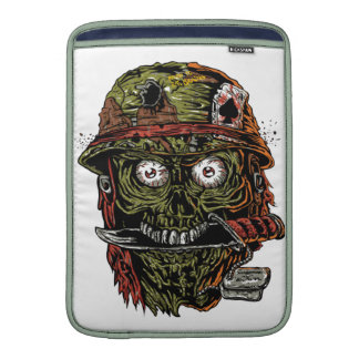 military zombie with knife in mouth MacBook sleeves