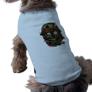 military zombie with knife in mouth pet shirt