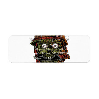 military zombie with knife in mouth return address label