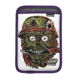 military zombie with knife in mouth sleeve for iPad mini