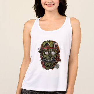 military zombie with knife in mouth tank top
