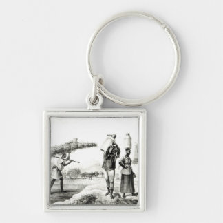 Milk and Capim Vendors Silver-Colored Square Keychain