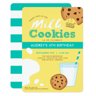 Milk and Chocolate Chip Cookies Birthday Party Card