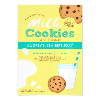 Milk and Chocolate Chip Cookies Birthday Party Magnetic Card