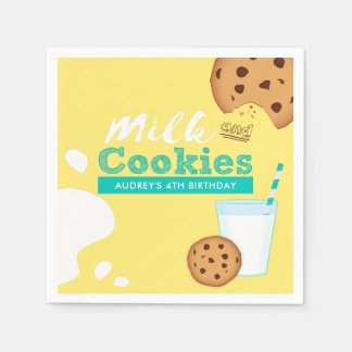 Milk and Chocolate Chip Cookies Birthday Party Paper Napkin