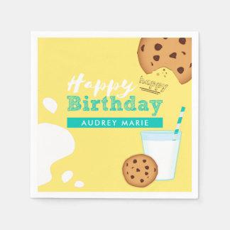 Milk and Chocolate Chip Cookies Happy Birthday Paper Napkin