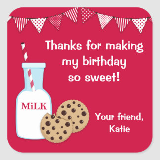Milk and Cookie Party Thank You Sticker