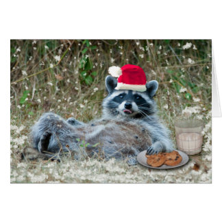 Milk and Cookies raccoon Christmas Card