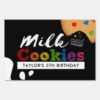 Milk and Cookies Rainbow Birthday Party Sign