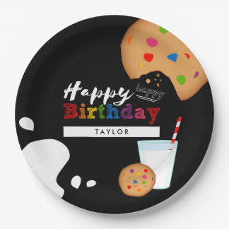 Milk and Cookies Rainbow Happy Birthday Paper Plate