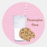 milk and cookies round sticker