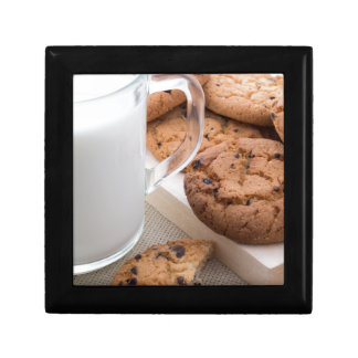 Milk and oatmeal cookies with chocolate gift box