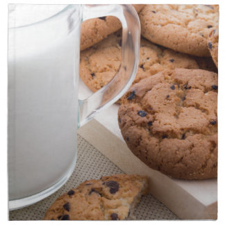 Milk and oatmeal cookies with chocolate napkin