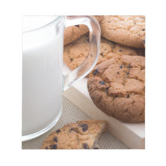 Milk and oatmeal cookies with chocolate notepad