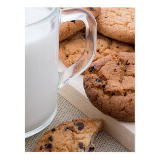 Milk and oatmeal cookies with chocolate postcard