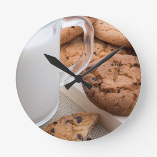 Milk and oatmeal cookies with chocolate round clock