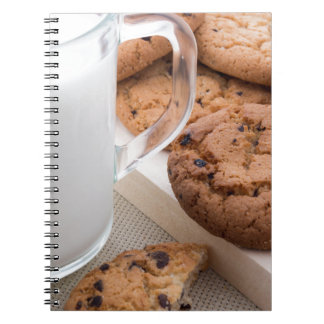Milk and oatmeal cookies with chocolate spiral notebook