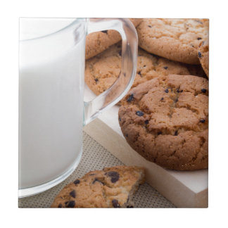 Milk and oatmeal cookies with chocolate tile