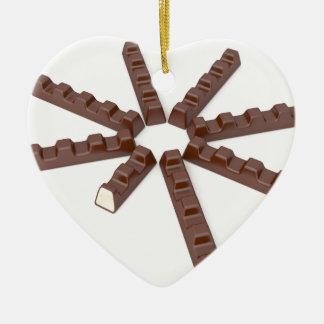 Milk chocolate bars ceramic ornament