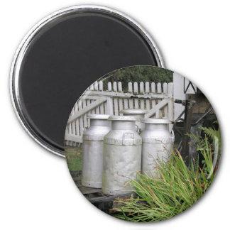 Milk churns at Stogumber Station, Somerset, UK Magnet