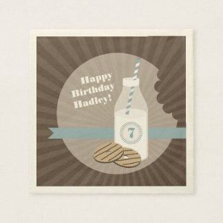 Milk + Cookies Birthday - Blue Paper Napkins