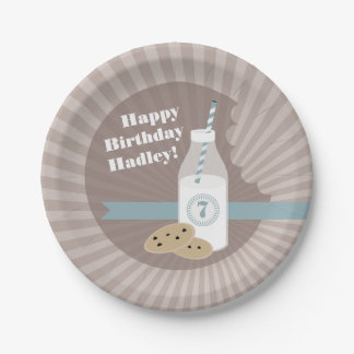 Milk + Cookies Birthday - Chocolate Chip Blue Paper Plate
