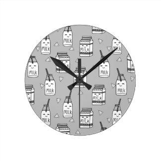 Milk & Cookies Grey Kids Food / Andrea Lauren Clocks