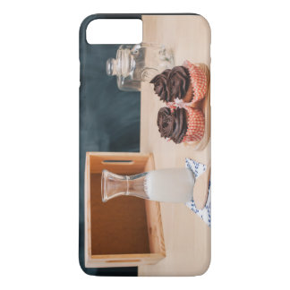 Milk, cupcakes, empty box and jars iPhone 7 plus case