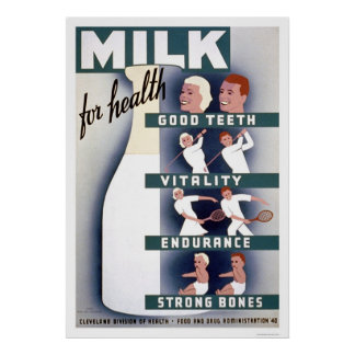 Milk For Health 1940 WPA Poster