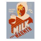 Milk - for warmth Energy food Postcard