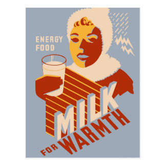 Milk - for warmth Energy food Postcard