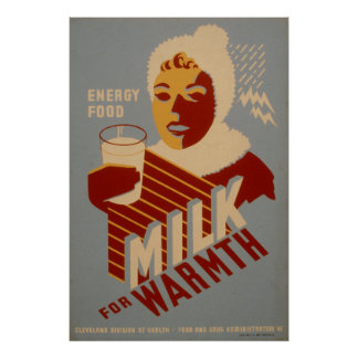 Milk For Warmth Energy Vintage 1941 WPA Posters