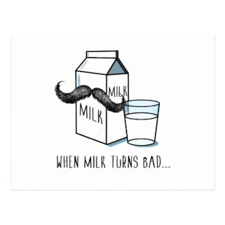 Milk & Moustache Funny Postcard
