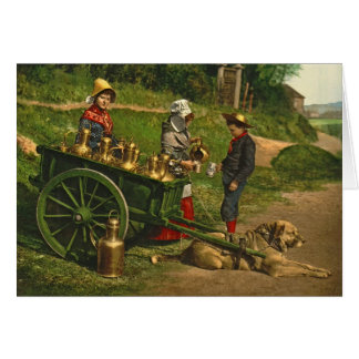 Milk Sellers Brussels Belgium 1890 Card