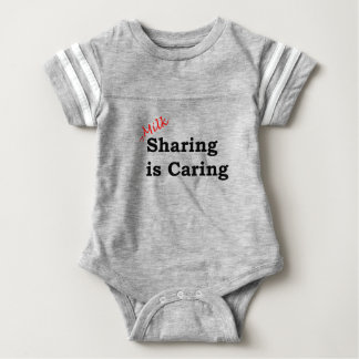 Milk sharing is caring with red and black writing baby bodysuit